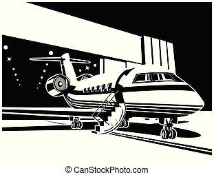 avion, jet, hangar