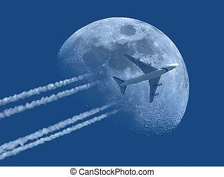 avion, jet, lune