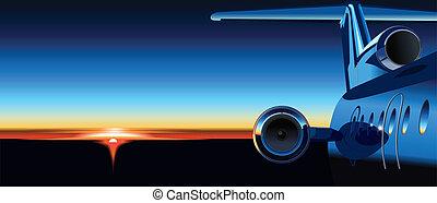 avion, levers de soleil