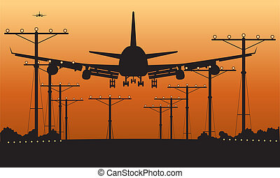avion ligne, atterrissage, coucher soleil