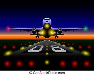 avion ligne, coucher soleil, atterrissage