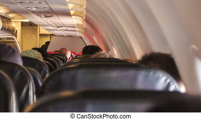 avion ligne passager, partie, cabine, vue postérieure