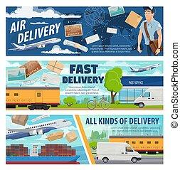 avion, livraison, train, courrier, camion, bateau