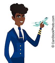 avion., modèle, africaine, jeune, hôtesse