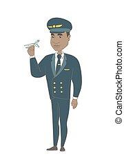 avion., modèle, pilote, jeune, africaine