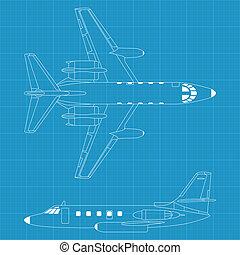 avion, moderne, civil