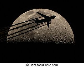 avion, moitié, sur, lune, silhouette