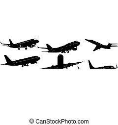 avion, noir, silhouettes., vecteur, illustration., blanc