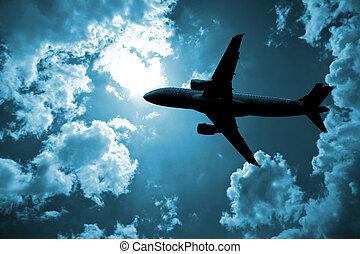 avion, nuage