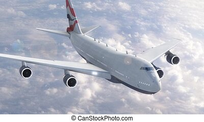 avion, nuages, sur