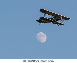 avion, passé, tailler, lune, voler, jaune, entiers, vert, antiquité, bi