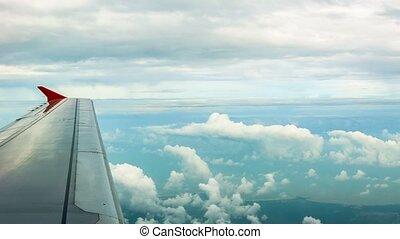 avion passager, fenêtre, vue