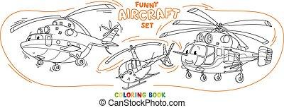 avion, rigolote, ensemble, coloration, lumière, hélicoptères, livre