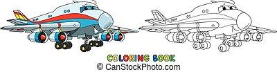 avion, rigolote, eyes., coloration, cargaison, livre