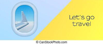 avion., s, banner., aile, bleu, eps10, hublot, aller, vue, voyage, plane., ciel, illustration, laisser, vecteur, publicité
