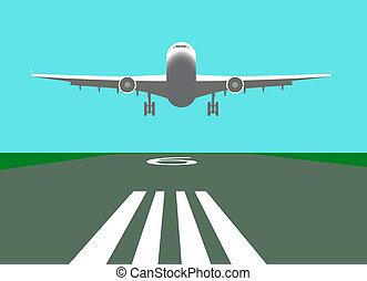 avion, vecteur, atterrissage, illustration