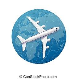 avion, vecteur, concept., voyage