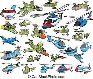avion, vecteur, transport, ensemble
