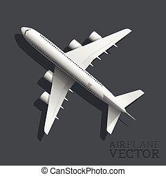 avion, vecteur, vue dessus