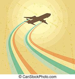 avion, voler, illustration, sky.