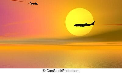 avions, coucher soleil, -, render, 3d