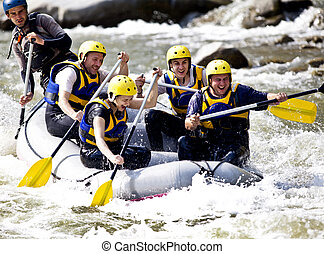 aviron, rivière, groupe