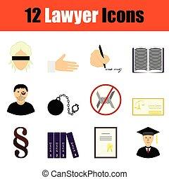 avocat, icône, ensemble