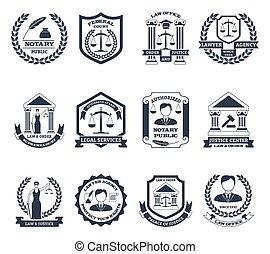 avocat, logo, noir, blanc, ensemble