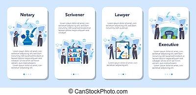 avocat, service, application, bannière, set., professionnel, mobile, notary