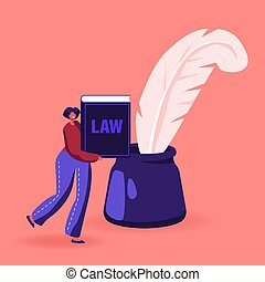 avocat, service, encrier, énorme, notary, ou, mains, illustration, notarized, document, livre, femme, pen., caractère, professionnel, droit & loi, dessin animé, avocat, plume, stand, documentation., vecteur