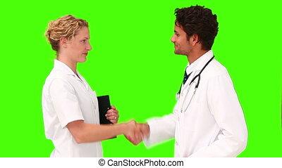 avoir, deux, réunion, médecins