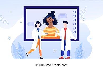avoir, femme, ligne médical, caractère, consultation