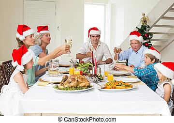 avoir, grillage, quoique, repas, noël, vin, famille