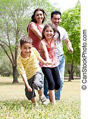 avoir, heureux, amusement, parc, famille