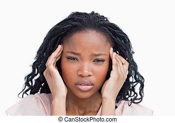 avoir, jeune femme, migraine