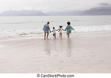 avoir, plage, ensemble, amusement famille