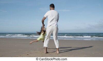 avoir, plage, fille, maman, amusement