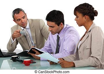 avoir, réunion, trois, professionnels
