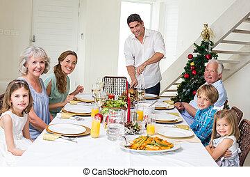 avoir, repas noël, table haute, famille