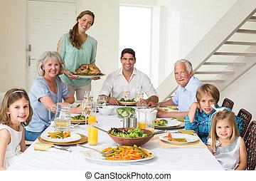avoir, repas, table haute, famille