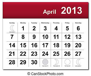 avril, calendrier, 2013