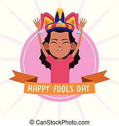 avril, fools, dessins animés, jour