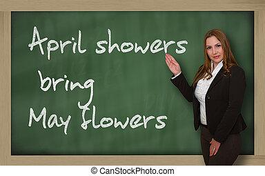 avril, mai, tableau noir, projection, apporter, douches, fleurs, prof