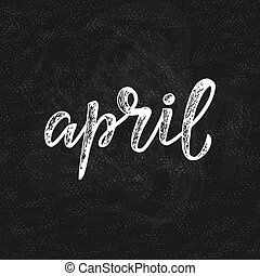 avril, manuscrit, -, nom, mois