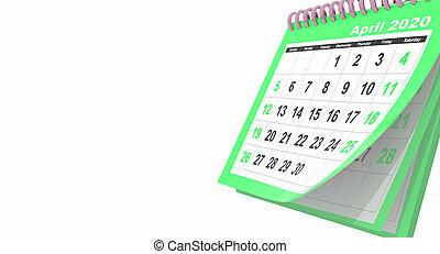 avril, -, pages, côté, 3d, mensuel, voler, rendre, vert, droit, calendrier, 2020