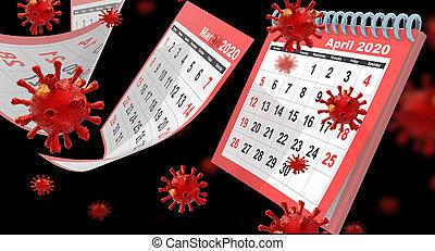avril, -, pages, coronavirus, isolé, 3d, mensuel, voler, rendre, rouges, covid-19, calendrier, 2020