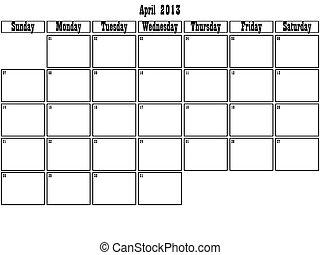 avril, planificateur, 2013