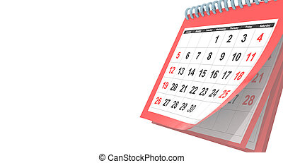 avril, rouges, -, voler, 3d, texte, rendre, pages, blanc, calendrier, fond, espace, ton