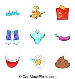 avril, style, dessin animé, ensemble, plaisanterie, fools, icônes