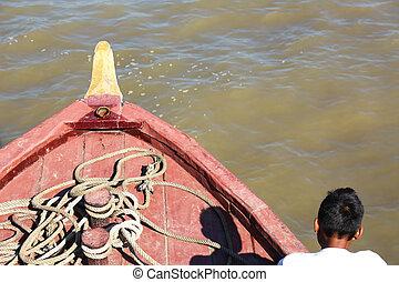 ayeyarwady rivière, vieux, bateau, myanmar